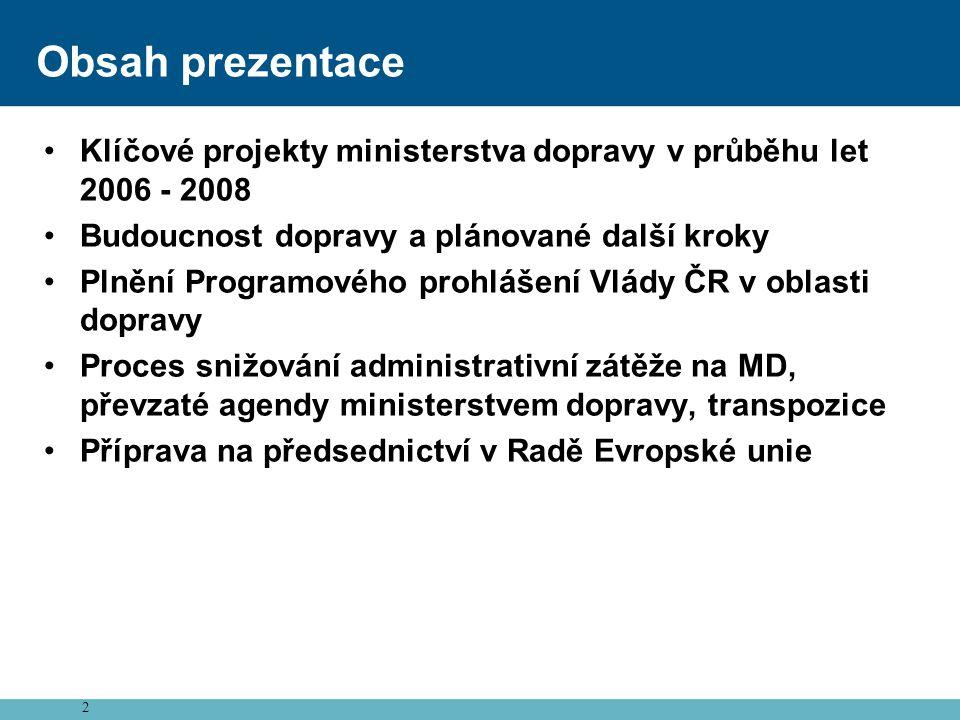 Obsah prezentace Klíčové projekty ministerstva dopravy v průběhu let 2006 - 2008. Budoucnost dopravy a plánované další kroky.