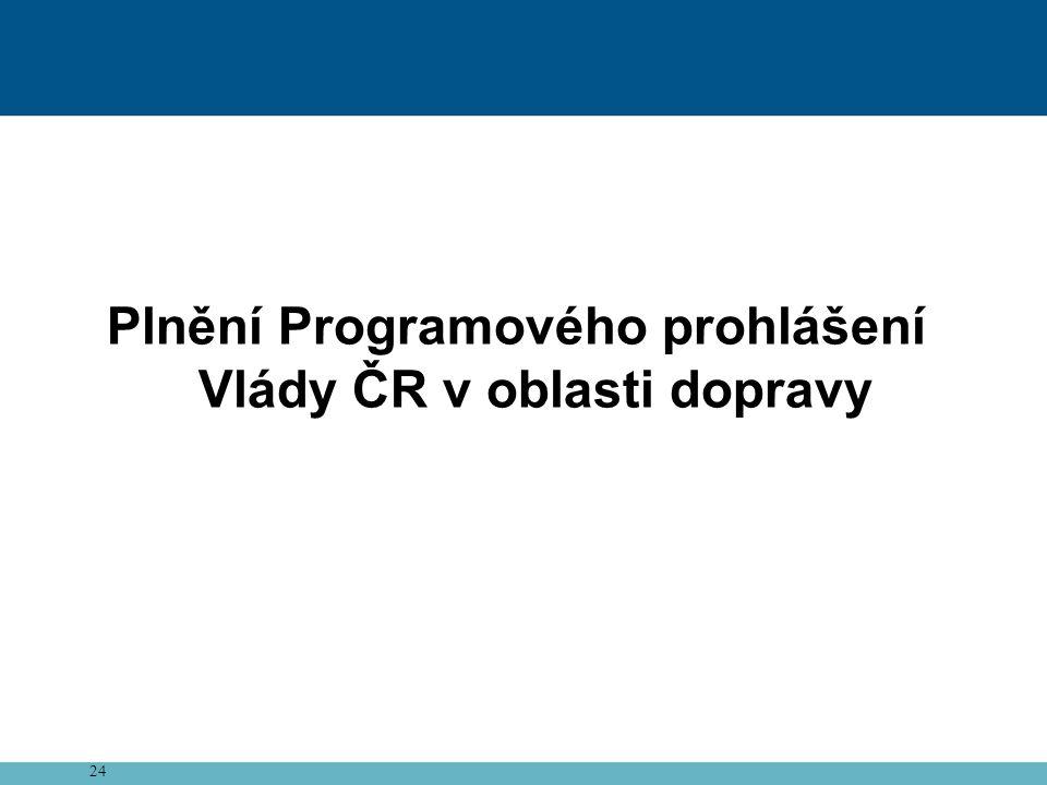 Plnění Programového prohlášení Vlády ČR v oblasti dopravy