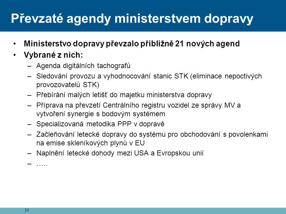 Převzaté agendy ministerstvem dopravy