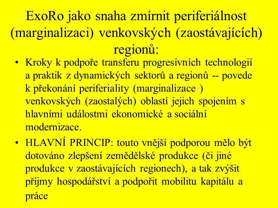 ExoRo jako snaha zmírnit periferiálnost (marginalizaci) venkovských (zaostávajících) regionů: