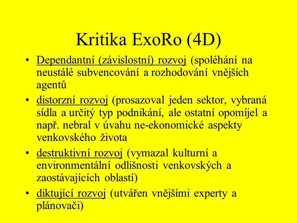 Kritika ExoRo (4D) Dependantní (závislostní) rozvoj (spoléhání na neustálé subvencování a rozhodování vnějších agentů.