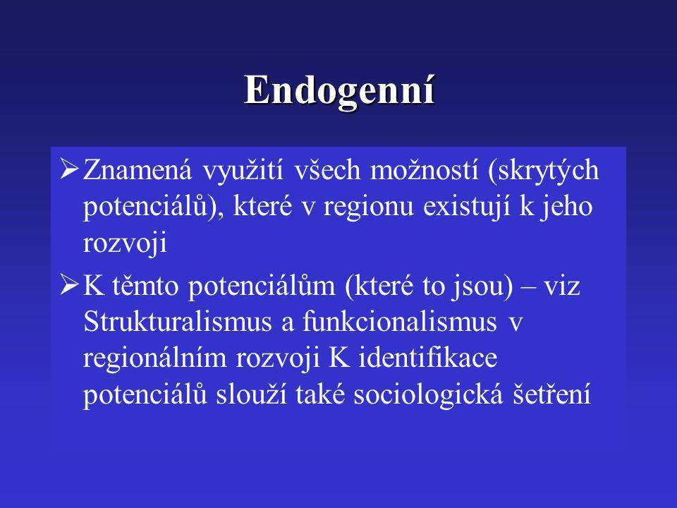 Endogenní Znamená využití všech možností (skrytých potenciálů), které v regionu existují k jeho rozvoji.