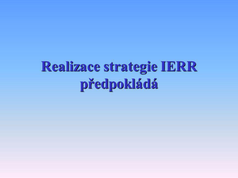 Realizace strategie IERR předpokládá