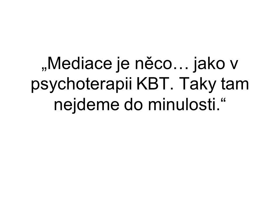 """""""Mediace je něco… jako v psychoterapii KBT"""