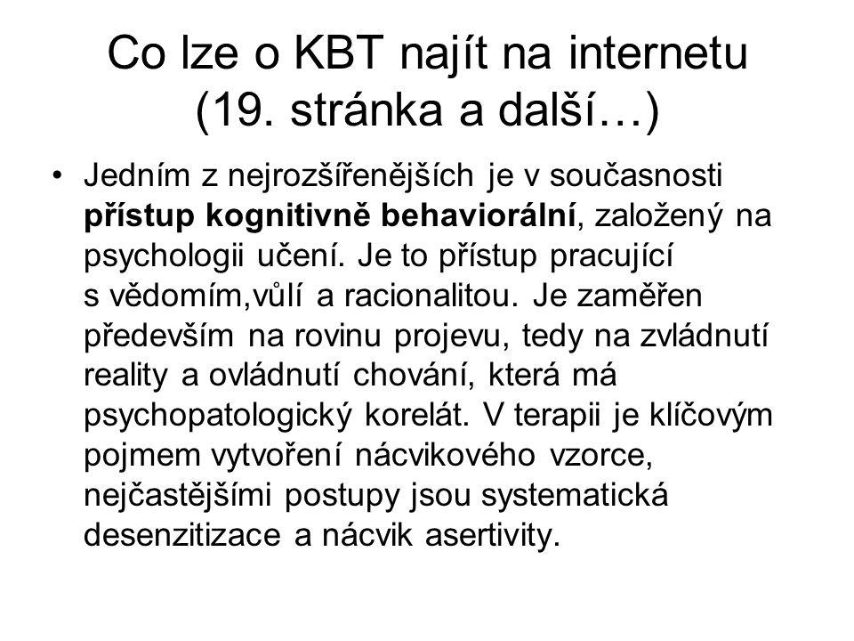 Co lze o KBT najít na internetu (19. stránka a další…)