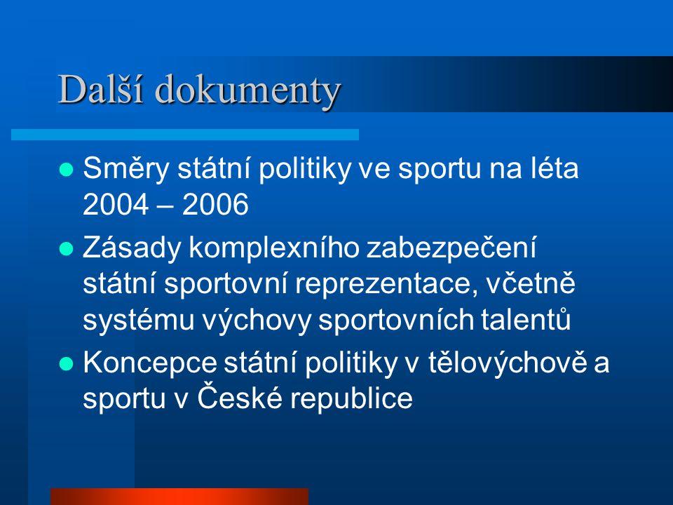 Další dokumenty Směry státní politiky ve sportu na léta 2004 – 2006