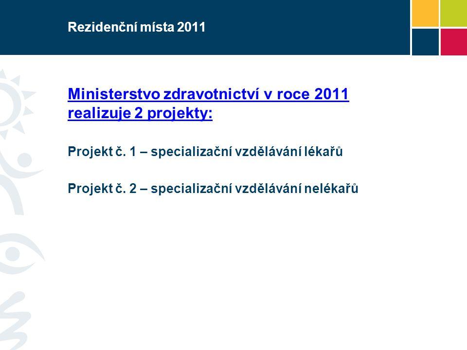 Ministerstvo zdravotnictví v roce 2011 realizuje 2 projekty: