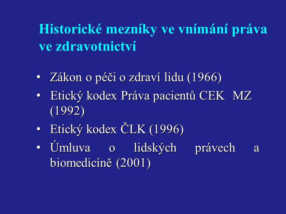 Historické mezníky ve vnímání práva ve zdravotnictví