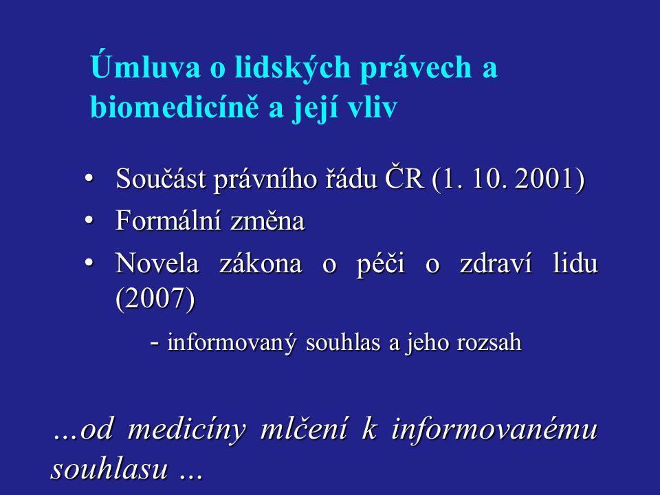 …od medicíny mlčení k informovanému souhlasu …