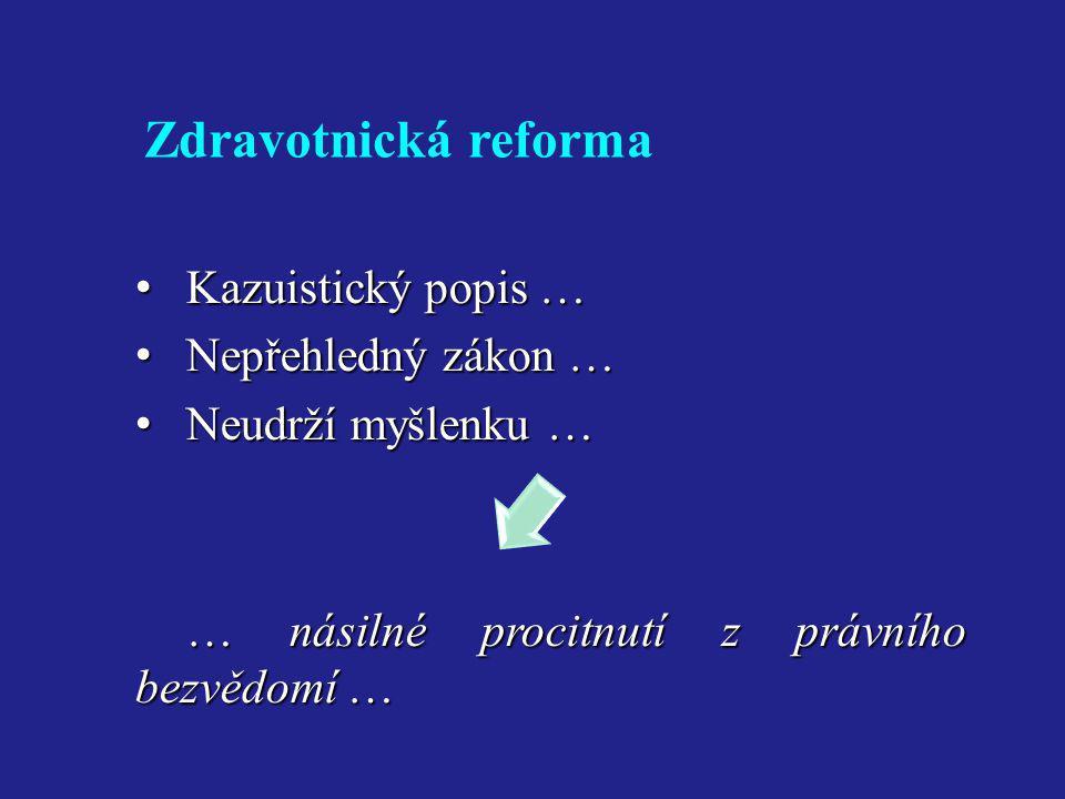 Zdravotnická reforma Kazuistický popis … Nepřehledný zákon …