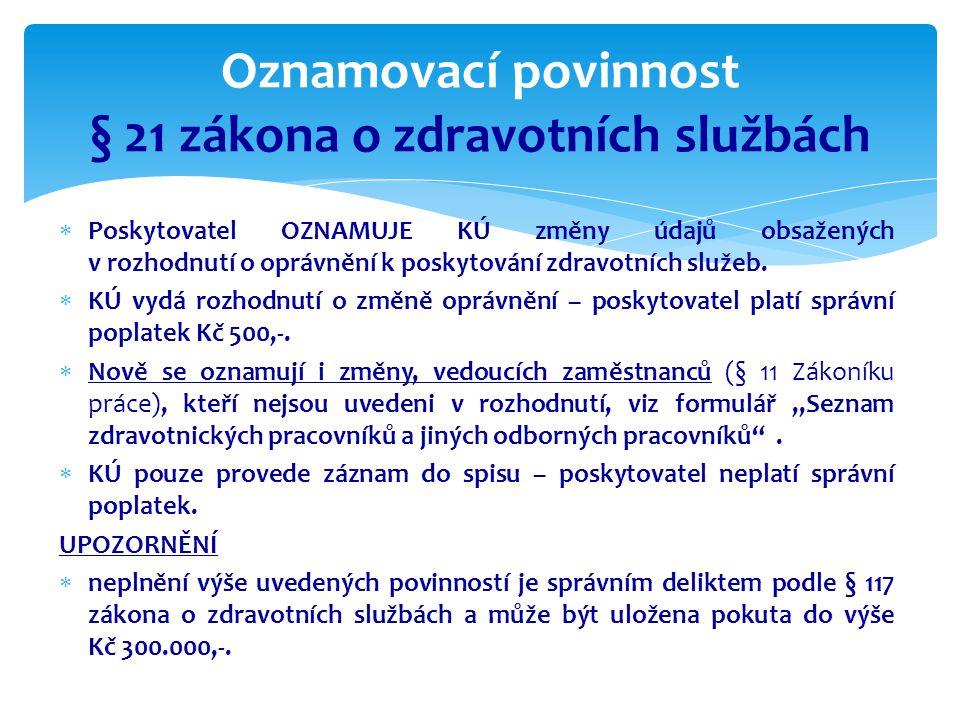 Oznamovací povinnost § 21 zákona o zdravotních službách