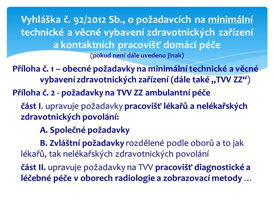 Vyhláška č. 92/2012 Sb., o požadavcích na minimální technické a věcné vybavení zdravotnických zařízení a kontaktních pracovišť domácí péče (pokud není dále uvedeno jinak)