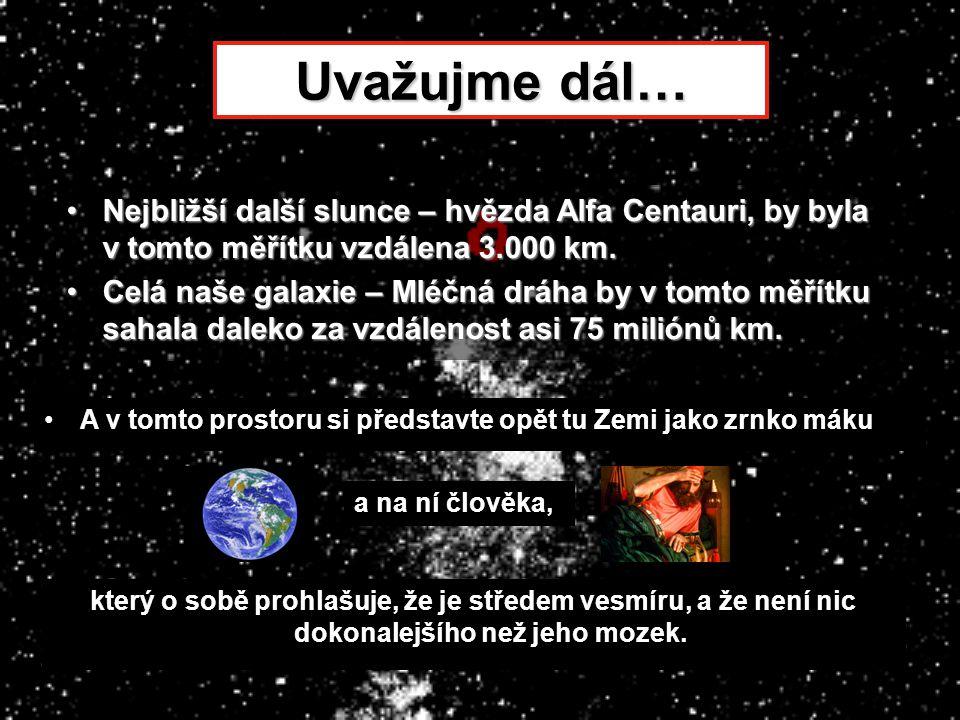 Uvažujme dál… Nejbližší další slunce – hvězda Alfa Centauri, by byla v tomto měřítku vzdálena 3.000 km.