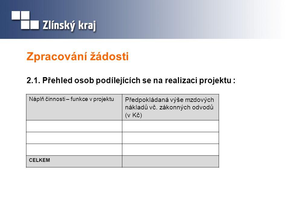 Zpracování žádosti 2.1. Přehled osob podílejících se na realizaci projektu : Náplň činnosti – funkce v projektu.