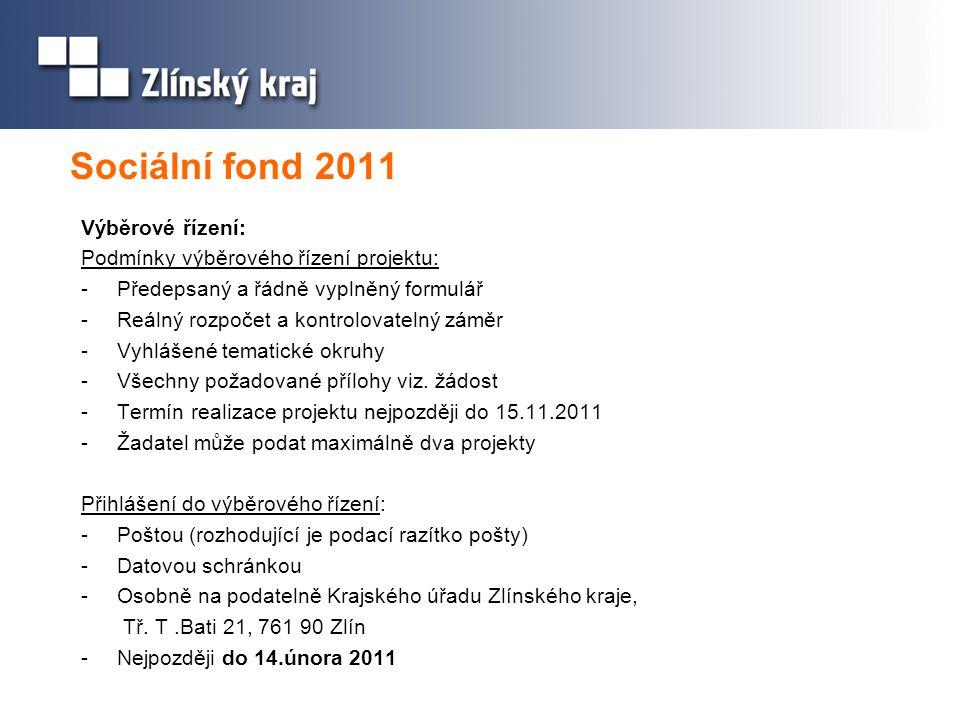 Sociální fond 2011 Výběrové řízení: