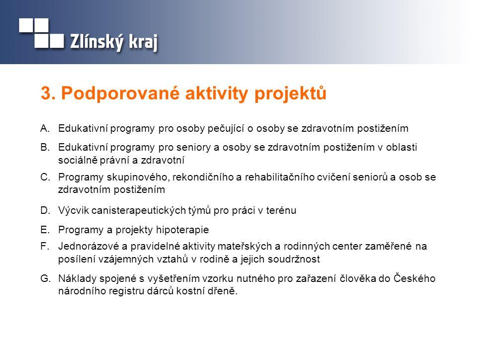 3. Podporované aktivity projektů