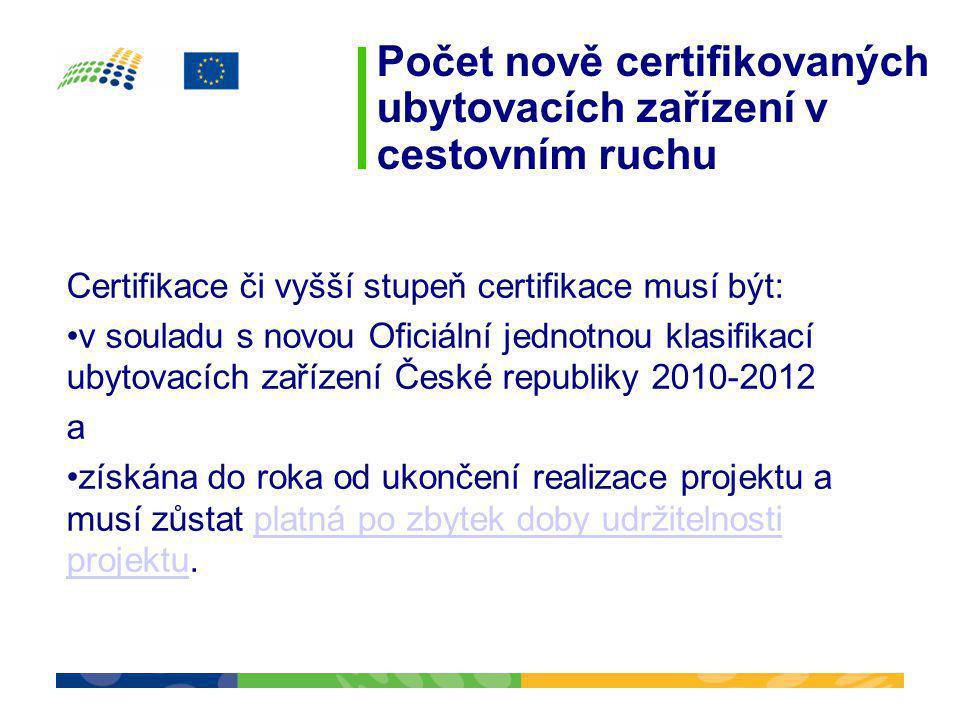 Počet nově certifikovaných ubytovacích zařízení v cestovním ruchu