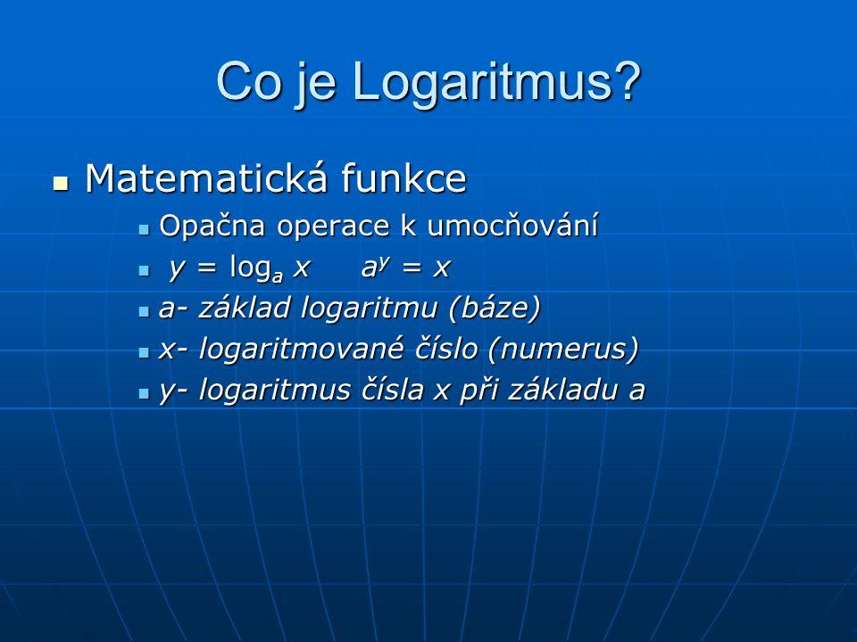 Co je Logaritmus Matematická funkce Opačna operace k umocňování