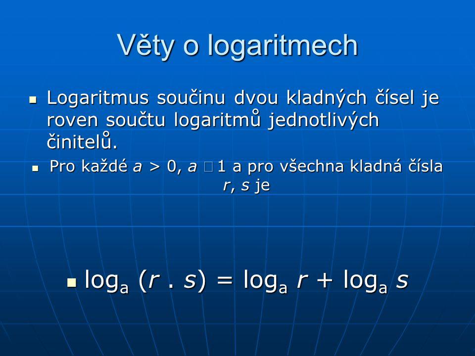 Věty o logaritmech loga (r . s) = loga r + loga s