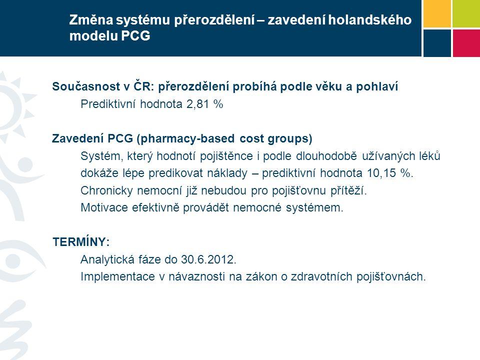 Změna systému přerozdělení – zavedení holandského modelu PCG