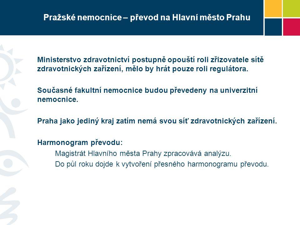 Pražské nemocnice – převod na Hlavní město Prahu