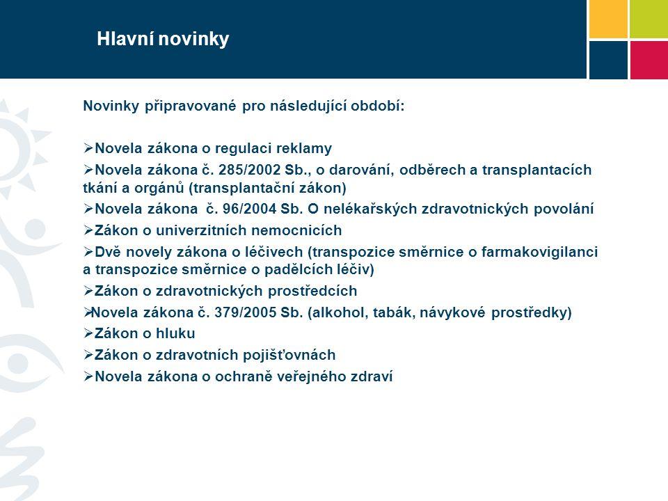 Hlavní novinky Novinky připravované pro následující období: