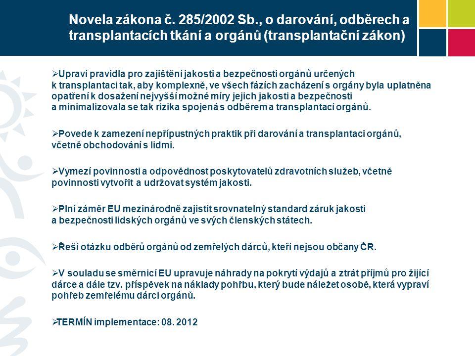 Novela zákona č. 285/2002 Sb., o darování, odběrech a transplantacích tkání a orgánů (transplantační zákon)