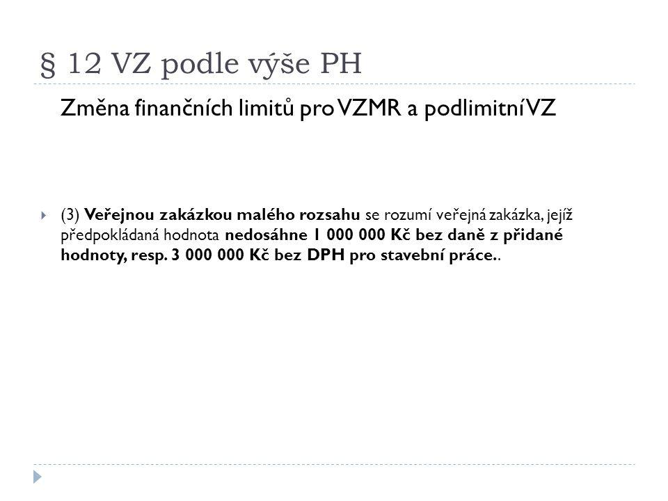 § 12 VZ podle výše PH Změna finančních limitů pro VZMR a podlimitní VZ