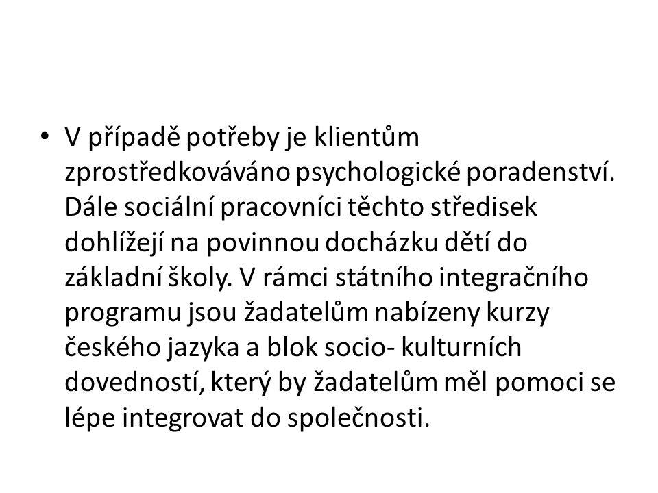 V případě potřeby je klientům zprostředkováváno psychologické poradenství.