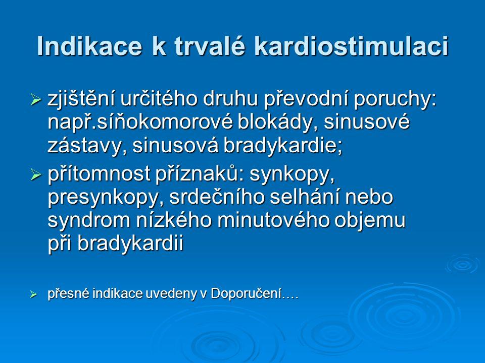 Indikace k trvalé kardiostimulaci