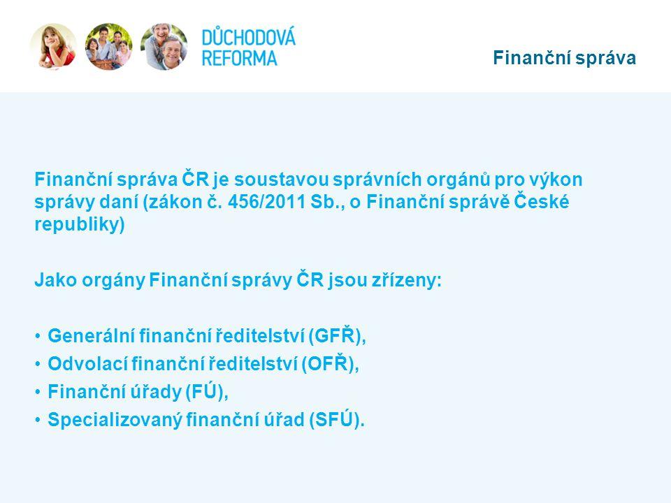 Finanční správa Finanční správa ČR je soustavou správních orgánů pro výkon správy daní (zákon č. 456/2011 Sb., o Finanční správě České republiky)