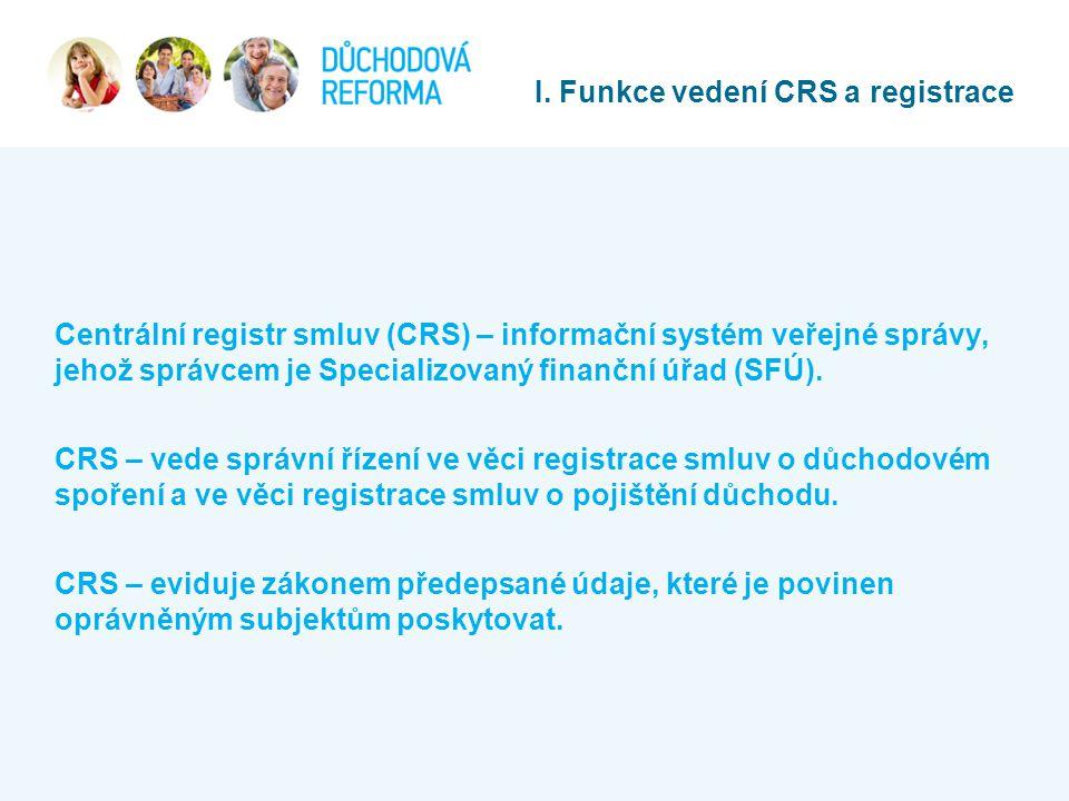 I. Funkce vedení CRS a registrace