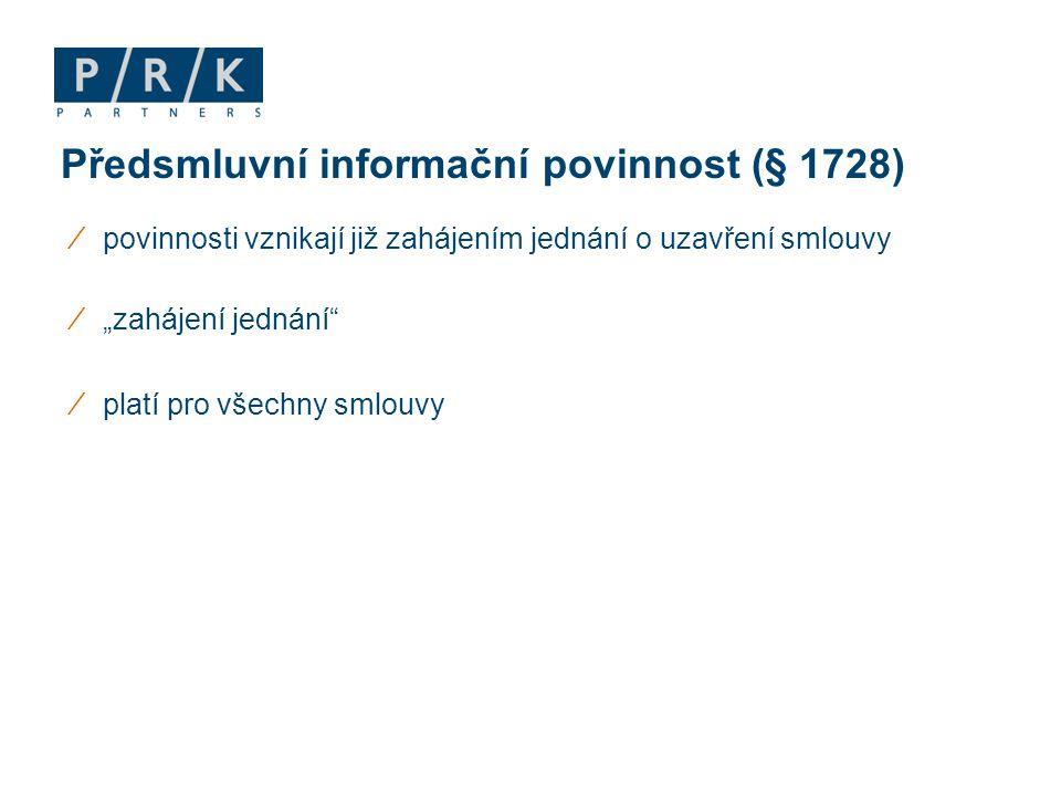 Předsmluvní informační povinnost (§ 1728)