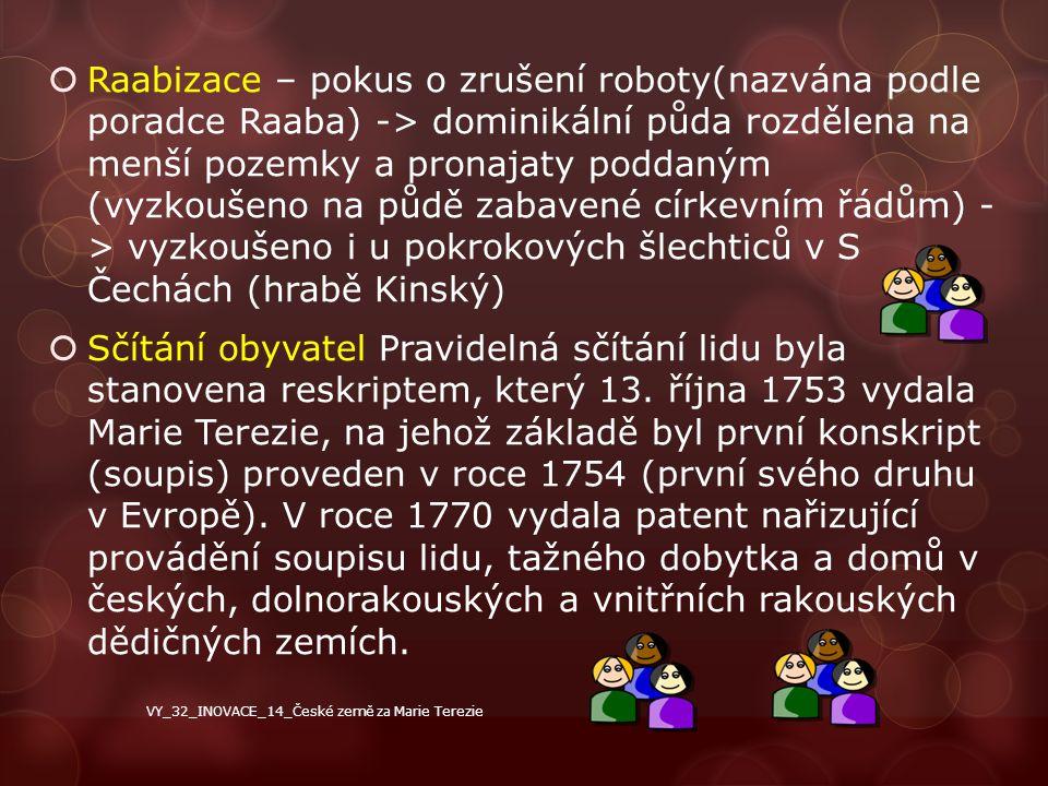 Raabizace – pokus o zrušení roboty(nazvána podle poradce Raaba) -> dominikální půda rozdělena na menší pozemky a pronajaty poddaným (vyzkoušeno na půdě zabavené církevním řádům) - > vyzkoušeno i u pokrokových šlechticů v S Čechách (hrabě Kinský)