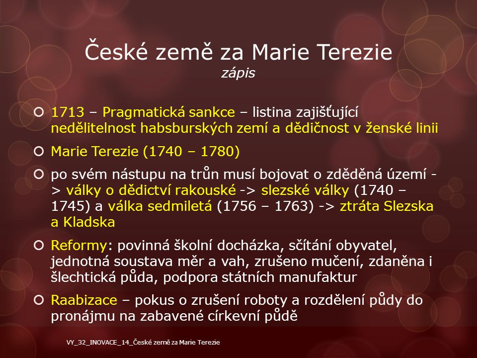 České země za Marie Terezie zápis