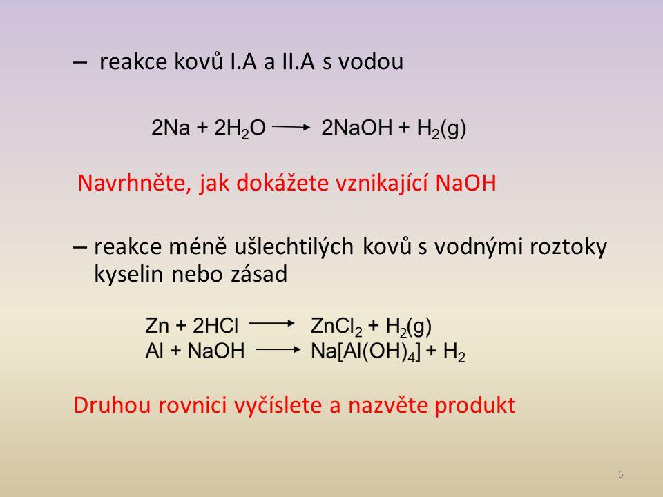 reakce kovů I.A a II.A s vodou