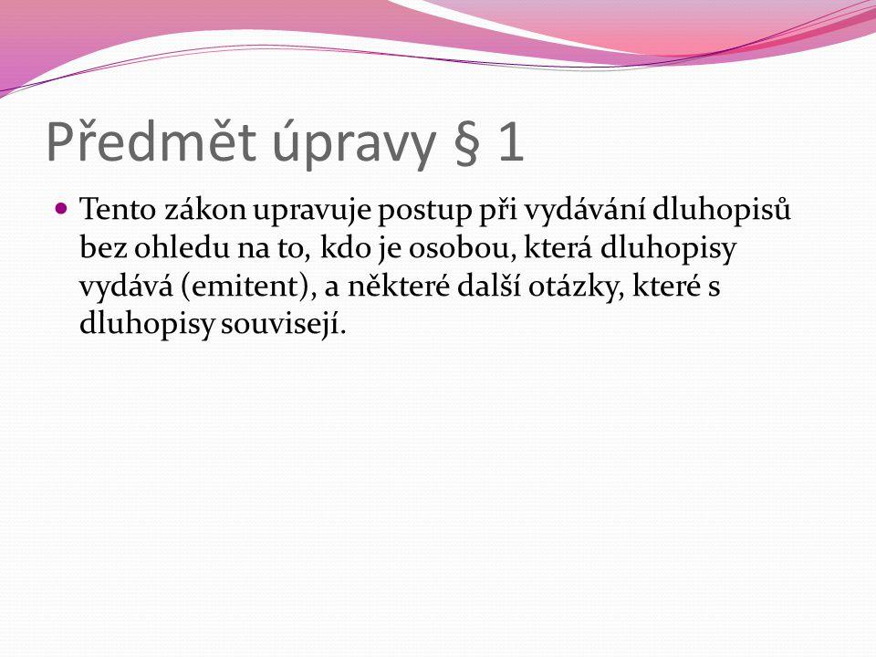 Předmět úpravy § 1