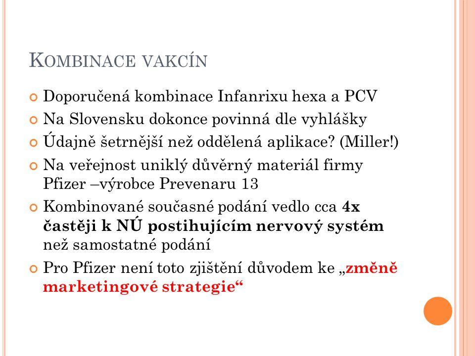 Kombinace vakcín Doporučená kombinace Infanrixu hexa a PCV