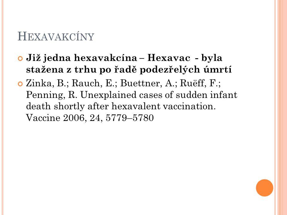 Hexavakcíny Již jedna hexavakcína – Hexavac - byla stažena z trhu po řadě podezřelých úmrtí.