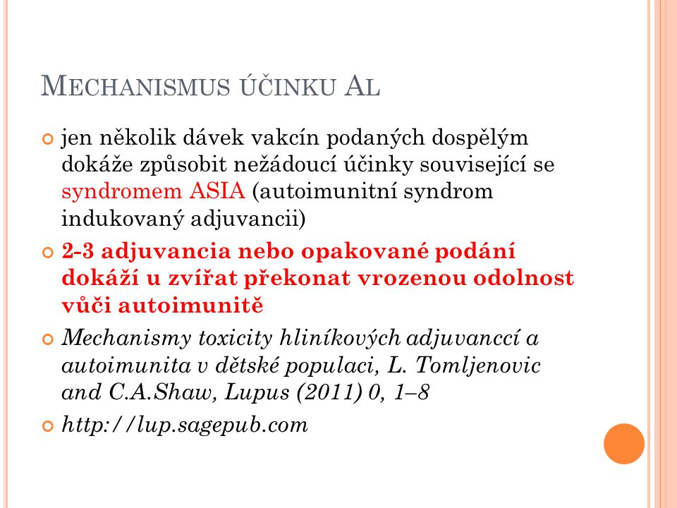 Mechanismus účinku Al