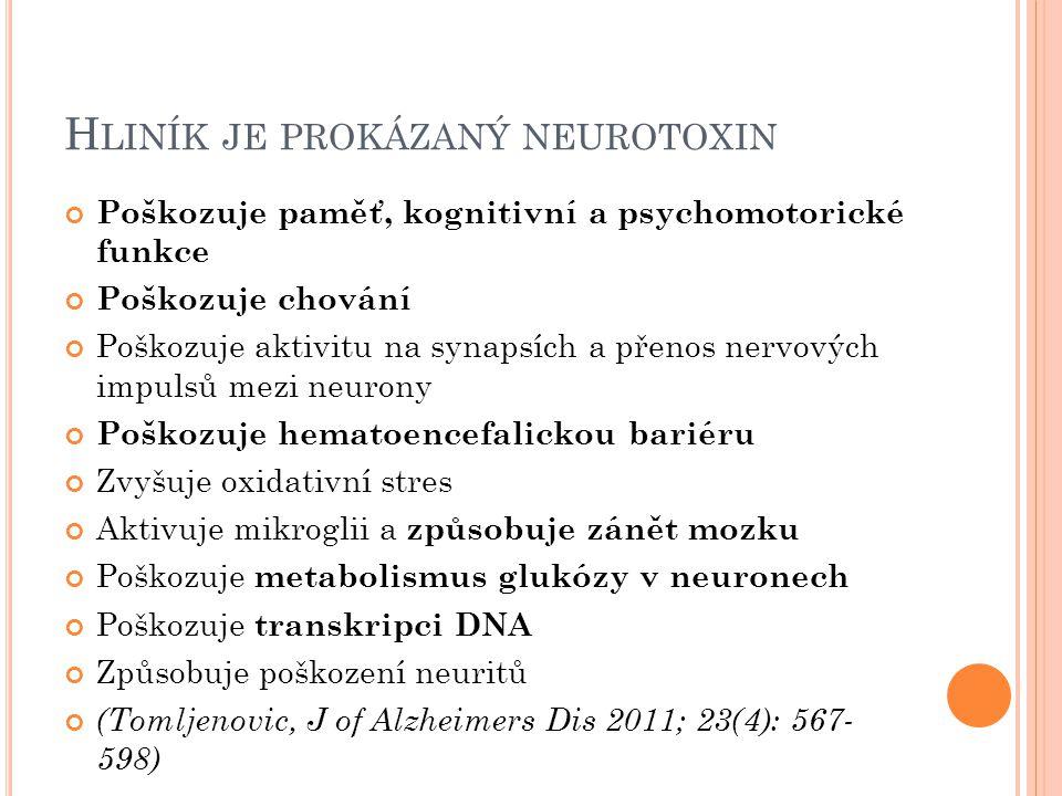 Hliník je prokázaný neurotoxin