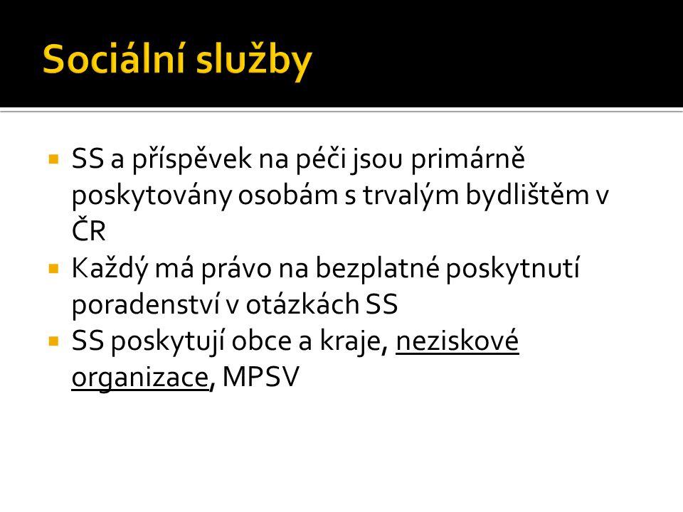 Sociální služby SS a příspěvek na péči jsou primárně poskytovány osobám s trvalým bydlištěm v ČR.