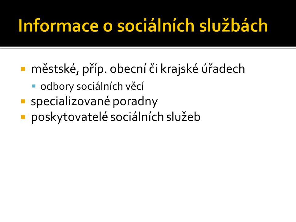 Informace o sociálních službách