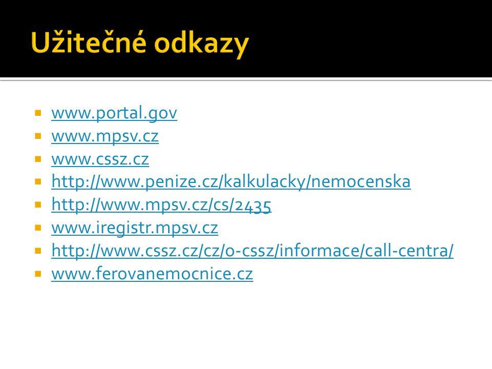 Užitečné odkazy www.portal.gov www.mpsv.cz www.cssz.cz