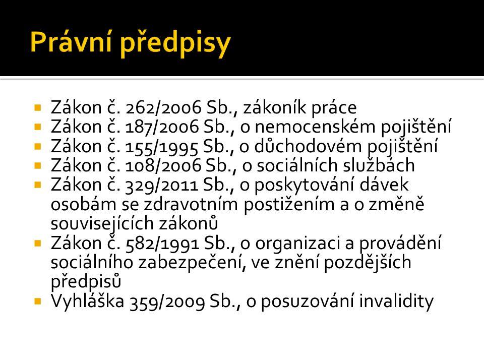 Právní předpisy Zákon č. 262/2006 Sb., zákoník práce