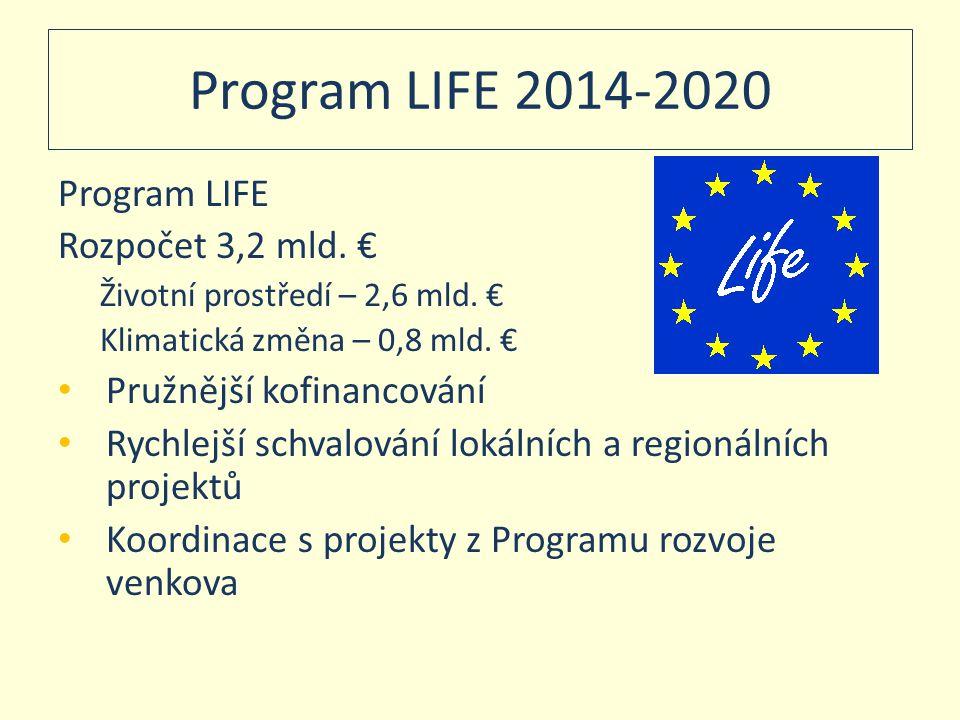 Program LIFE 2014-2020 Program LIFE Rozpočet 3,2 mld. €