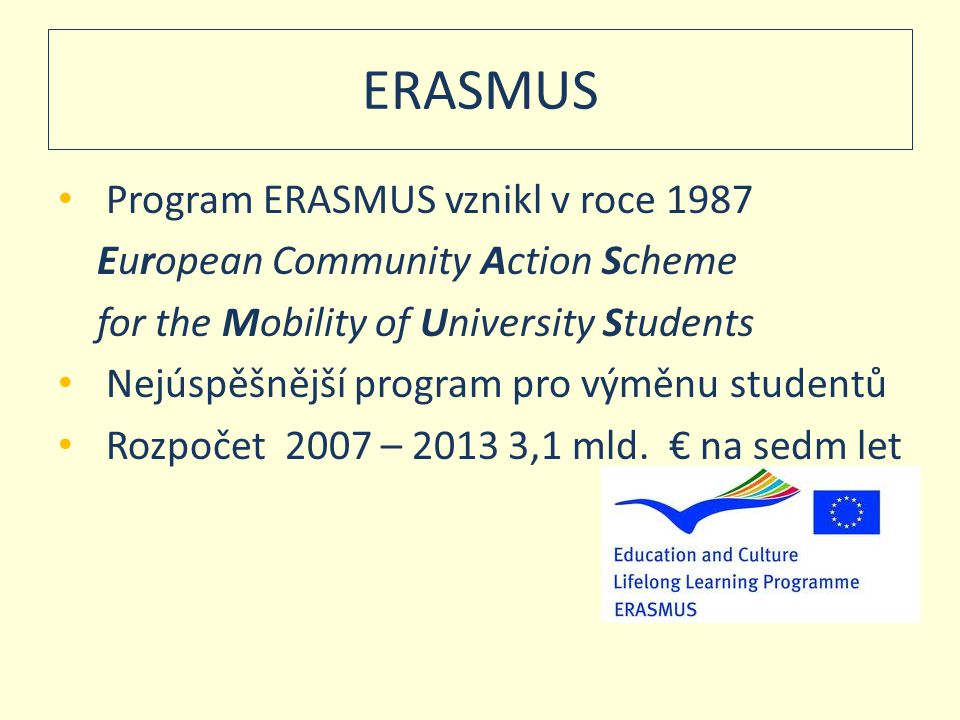 ERASMUS Program ERASMUS vznikl v roce 1987