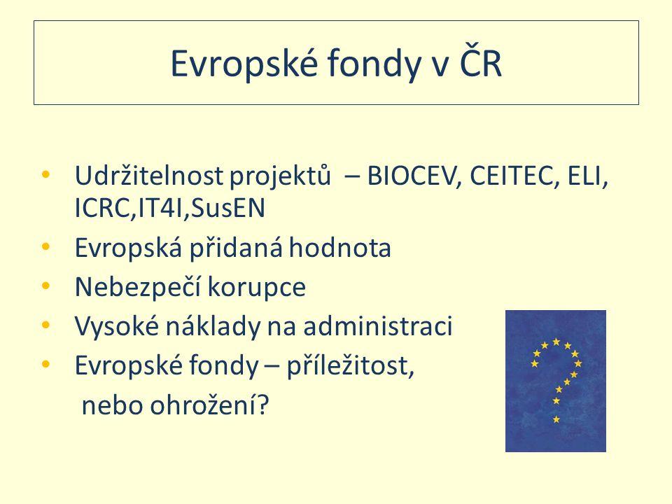 Evropské fondy v ČR Udržitelnost projektů – BIOCEV, CEITEC, ELI, ICRC,IT4I,SusEN. Evropská přidaná hodnota.