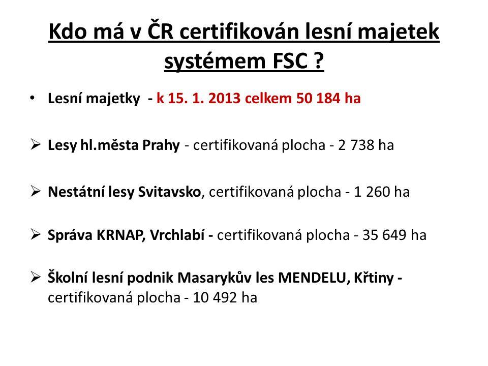 Kdo má v ČR certifikován lesní majetek systémem FSC