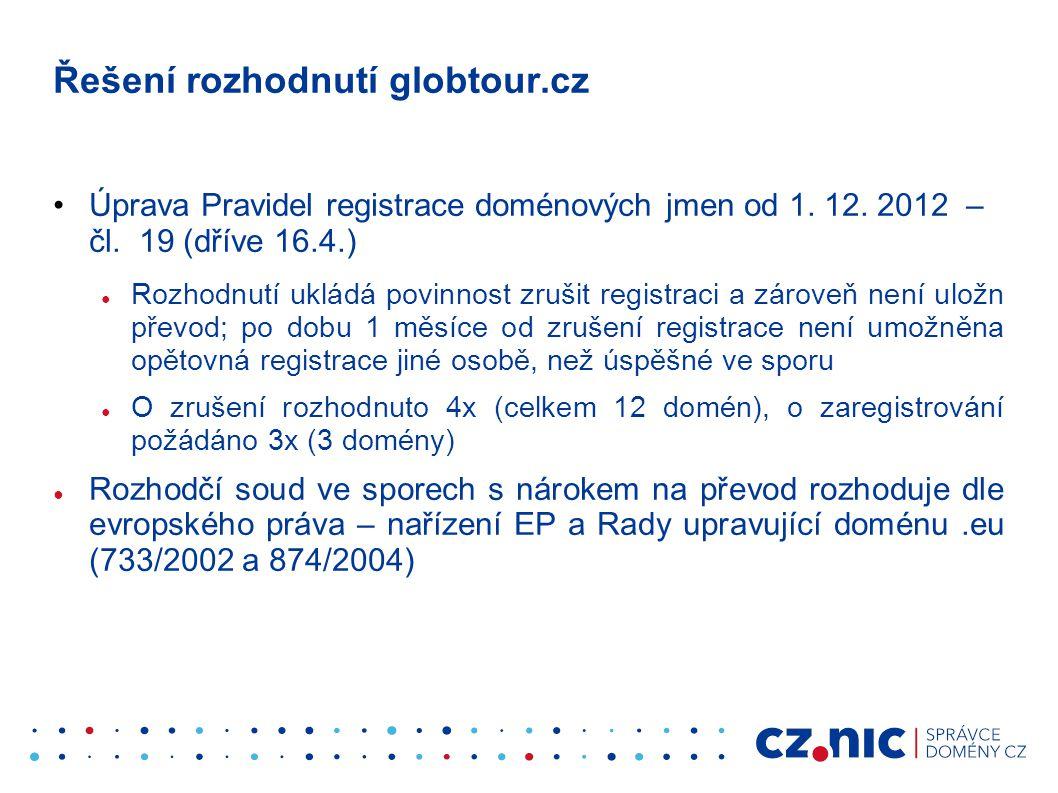 Řešení rozhodnutí globtour.cz